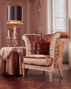 Monnet armchair, Armchair in luxury classic style, quilted covering
