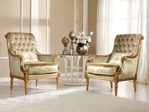 Nives Armchair capitonn�, Armchair in beech, preciously decoration, luxurious residence