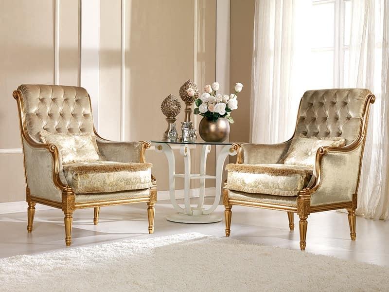 Nives Armchair capitonné, Armchair in beech, preciously decoration, luxurious residence