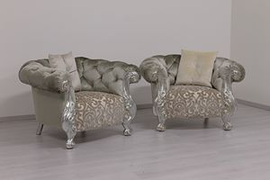 Oceano fabric, Armchair new Baqorue style, silver finish