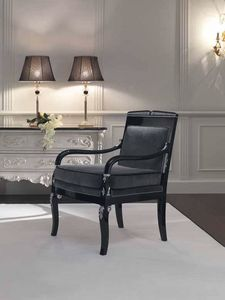 Opale armchair, Hand-carved armchair, black finish