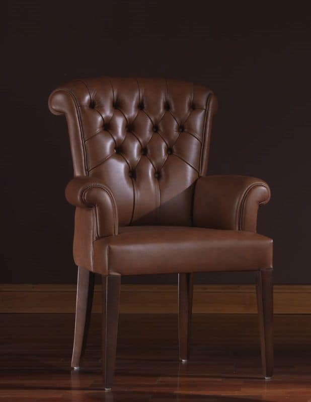 Oxford, Leather armchair ideal for residential environments and offices