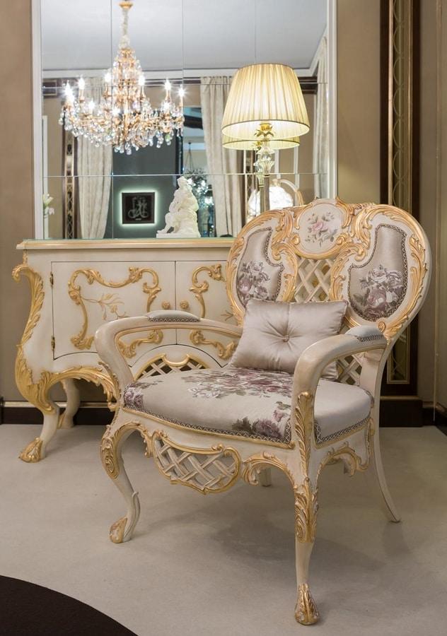 Pantheon armchair, Classic armchair in silk fabric