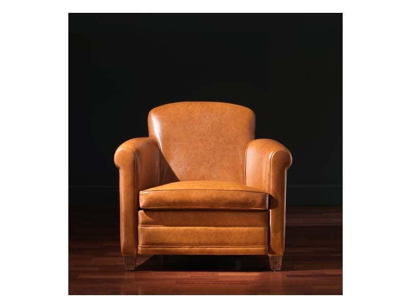 Ippolito Armchair, Leather armchair, upholstered in fireproof rubber