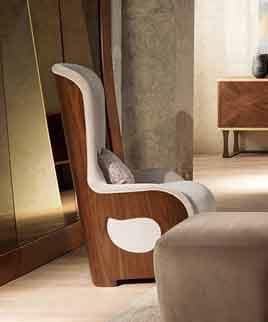 PO62 Galileo, Padded armchair in walnut for contemporary classics living rooms