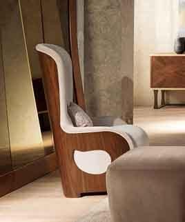 PO62 Galileo armchair, Padded armchair in walnut for contemporary classics living rooms