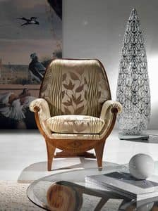 PO19 Confort, Upholstered armchair, fabric with floral decorations, classic luxury