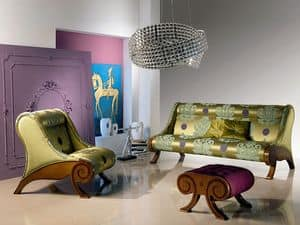 PO21 Glamour, Chair with pouf, inlaid, classical, for Hall hotel
