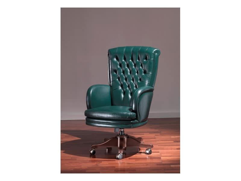 Praga Capitonnè, Antique style chair, green leather, for prestigious office