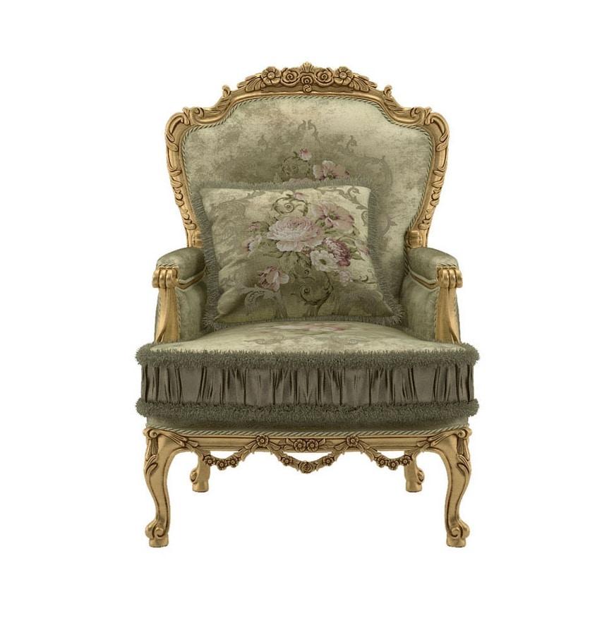 Principessa armchair, Classic style armchair, gold finish