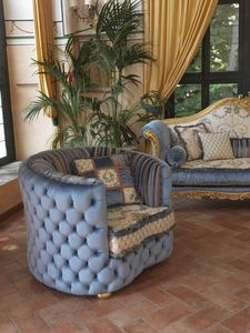 Rachele, Classic armchair with capitonn� padding