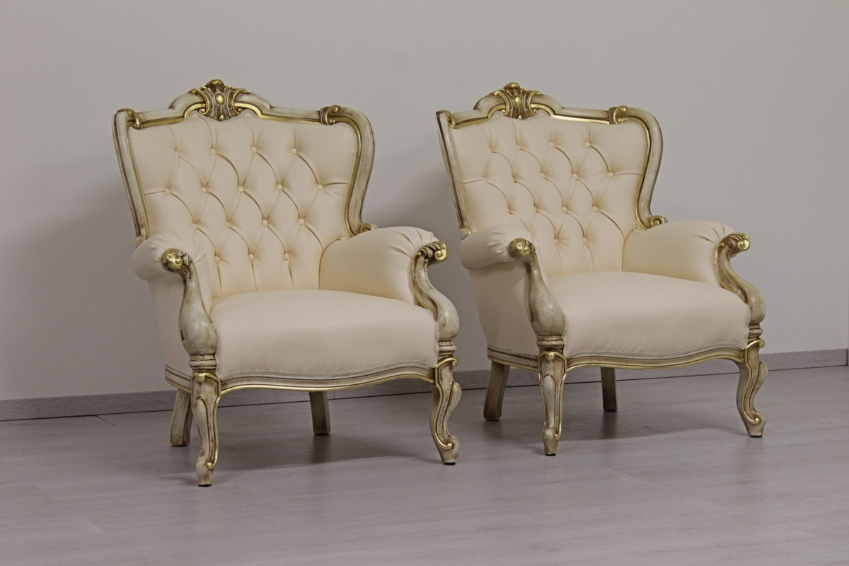 Re Sole leather, White leather armchair, with lacquered finish