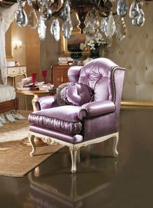 Selene bergere, Bergere armchair upholstered in silk