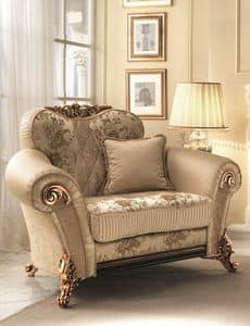 Sinfonia poltrona, Soft chair with golden decorations, rich and elegnate