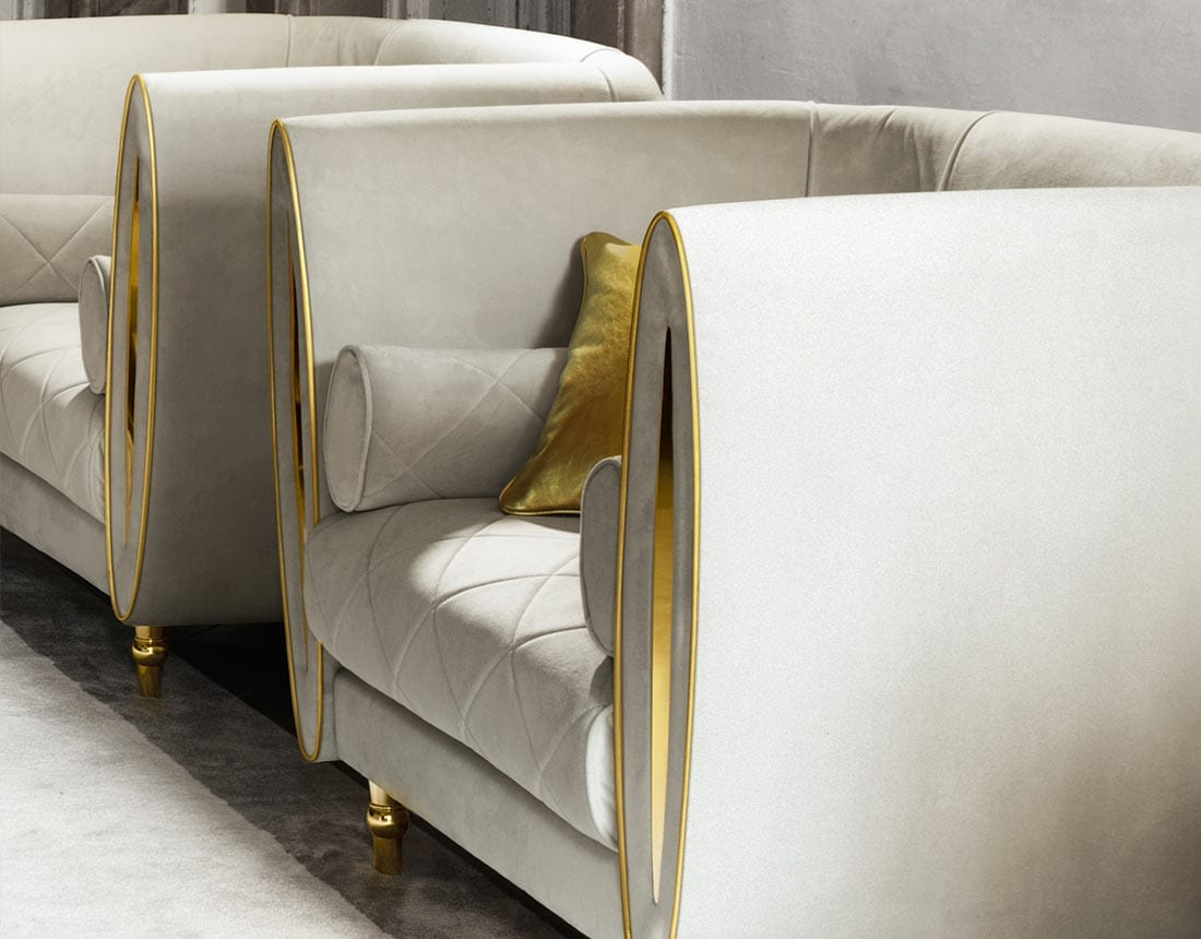 SIPARIO armchair, Classic armchair covered in velvet