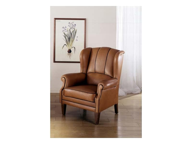 Utrecht, Stuffed armchair upholstered in leather, for luxury rooms