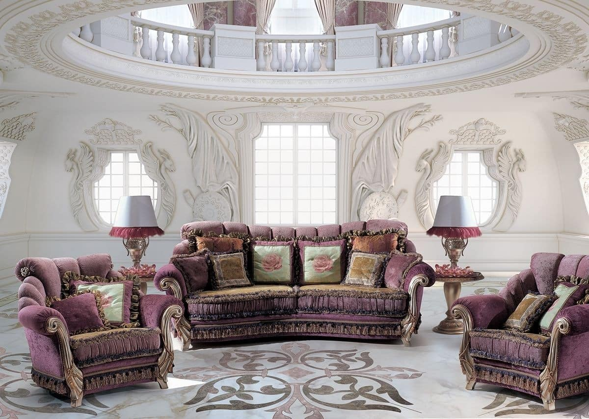 Armchair for classic luxury living room idfdesign for Salotti di lusso