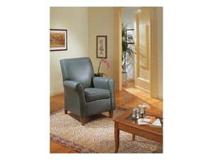 Verdiana, Upholstered armchair, for classical furniture, in leather