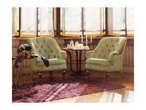 Viola, Armchair in classic style, small size, confortable