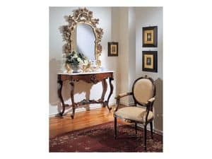 3200 MIRROR, Mirror with gold leaf finish, for hotels entrance