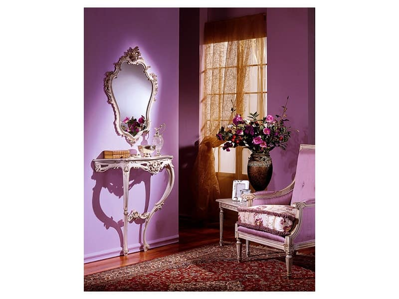 3330 MIRROR, Classic mirror with silver leaf finish, for lobby