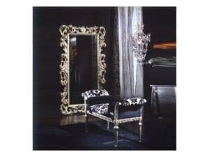701 MIRROR, Mirror in wood, silver finish, classic luxury style