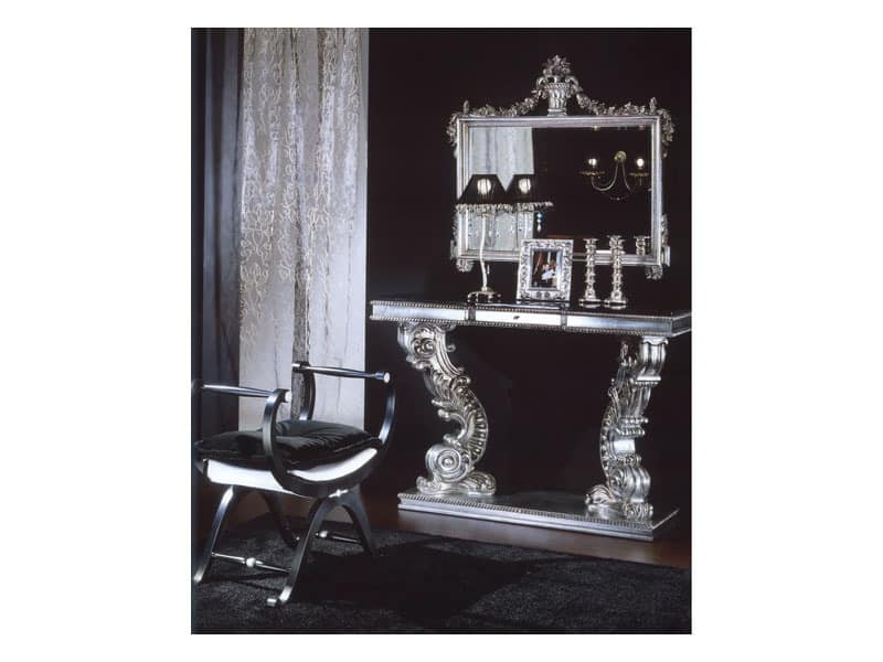 703 MIRROR, Classic mirror with silver finish, for residential use and hotel