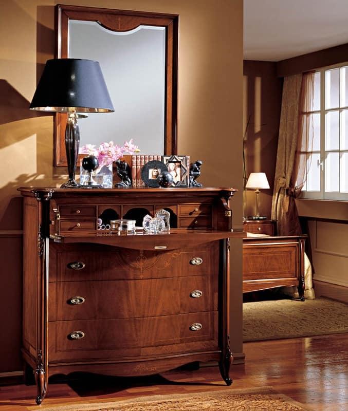 Alice mirror, Classic luxury mirror with walnut frame