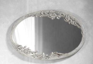 Art. 20525, White mirror, with floral carving