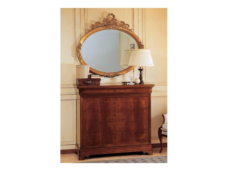 Art. 2170/0 '800 Francese Luigi Filippo, Elegant oval mirror, frame in gold leaf finish, hand carved