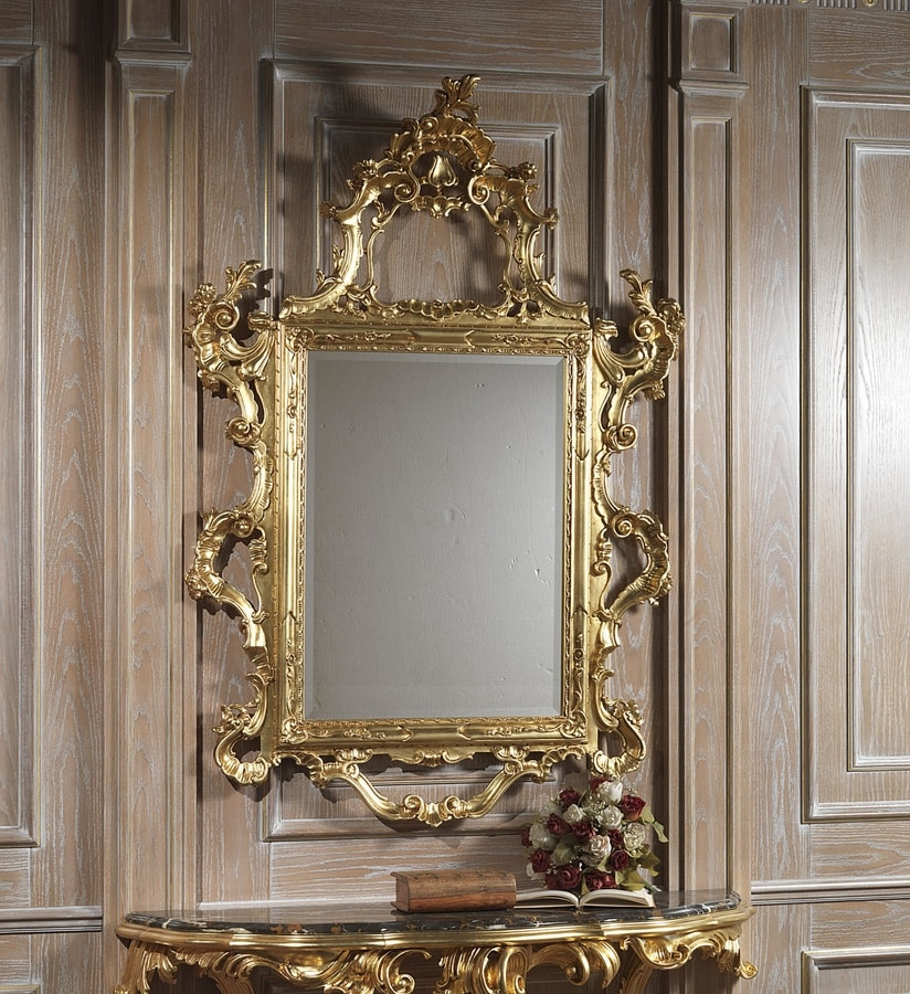 Art. 660 mirror, Majestic carved mirror, gold finish