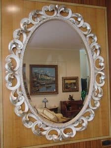 Art. 76/O, Oval mirror for the house, classic stile, carved frame