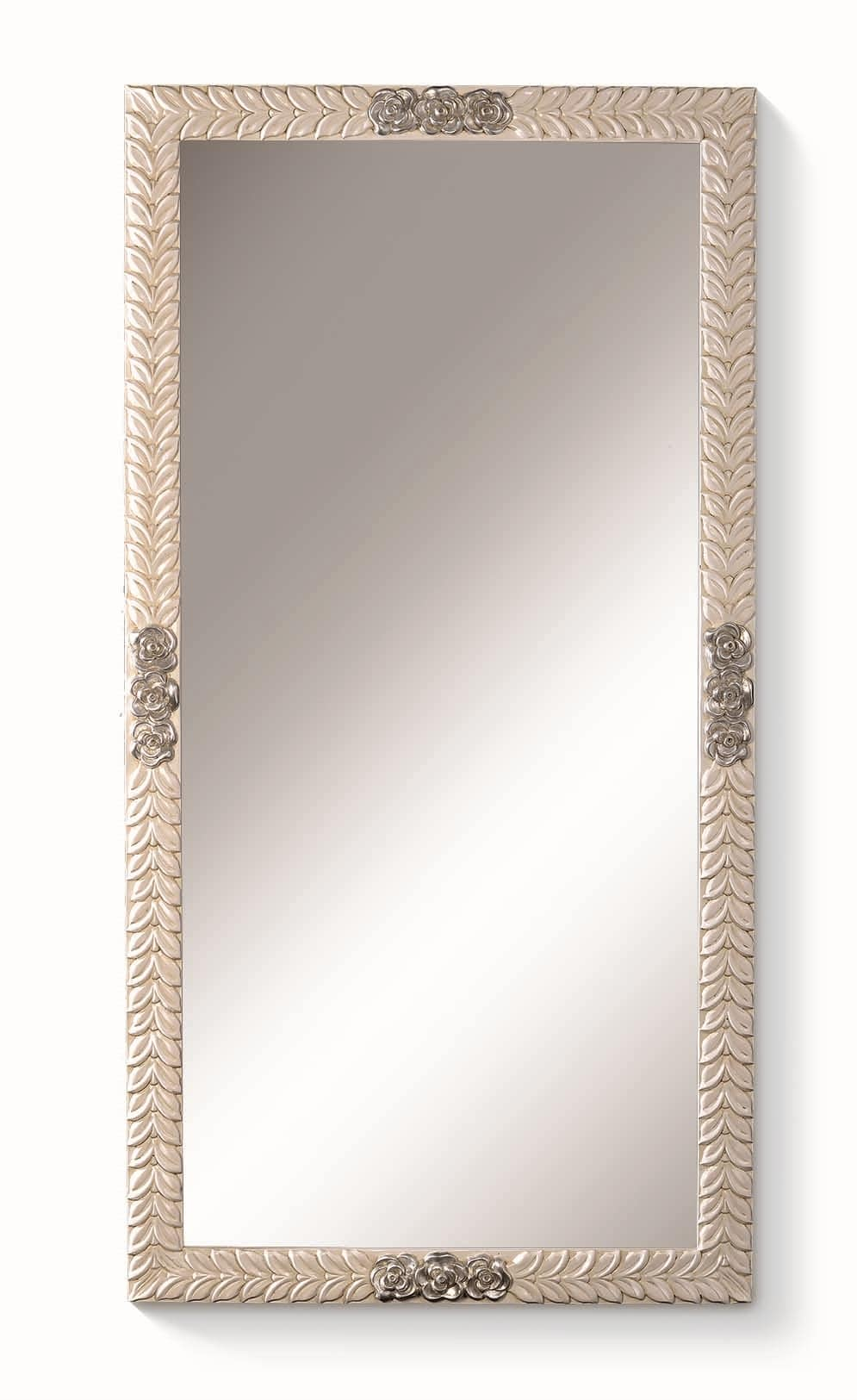 Art. 772, Rectangular mirror, with flowers and leaves on frame
