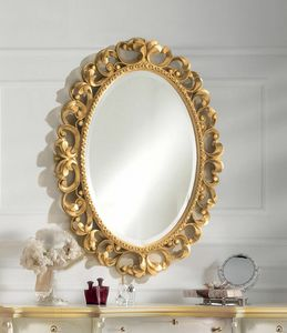 Art. 804, Oval mirror in gold finish