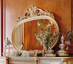 Art. 810T/S, Classic oval mirror with carved frame