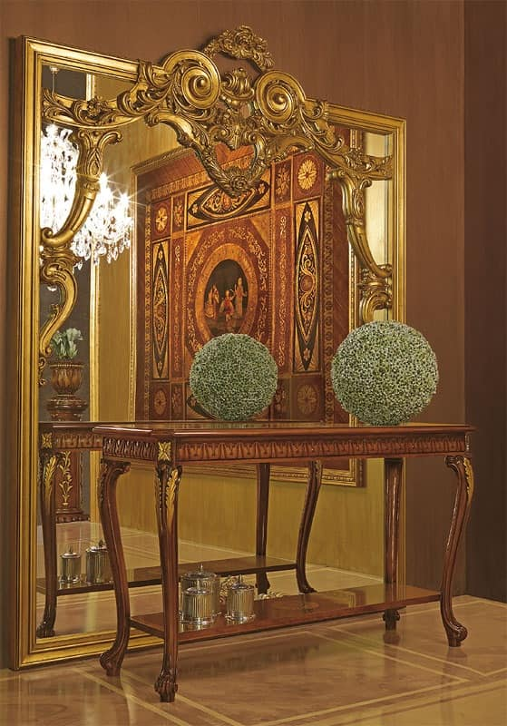 Art. 893, Large mirror with hand-carved wood frame