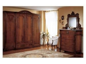 Art. 973 mirror '800 Siciliano, Mirror with hand carved wooden frame, for bedroom