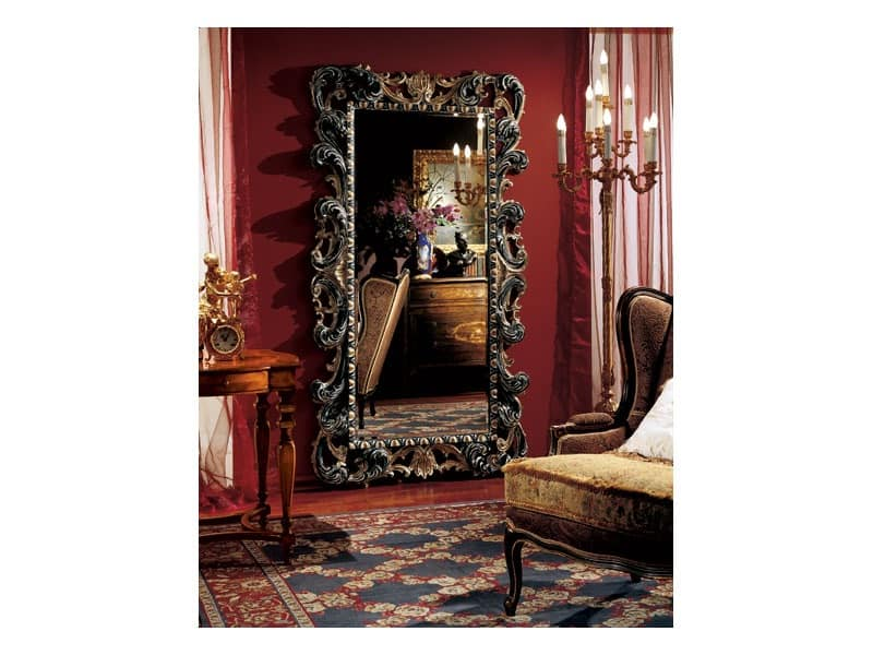 Complements mirror 854, Large rectangular mirror with wooden decorated frame