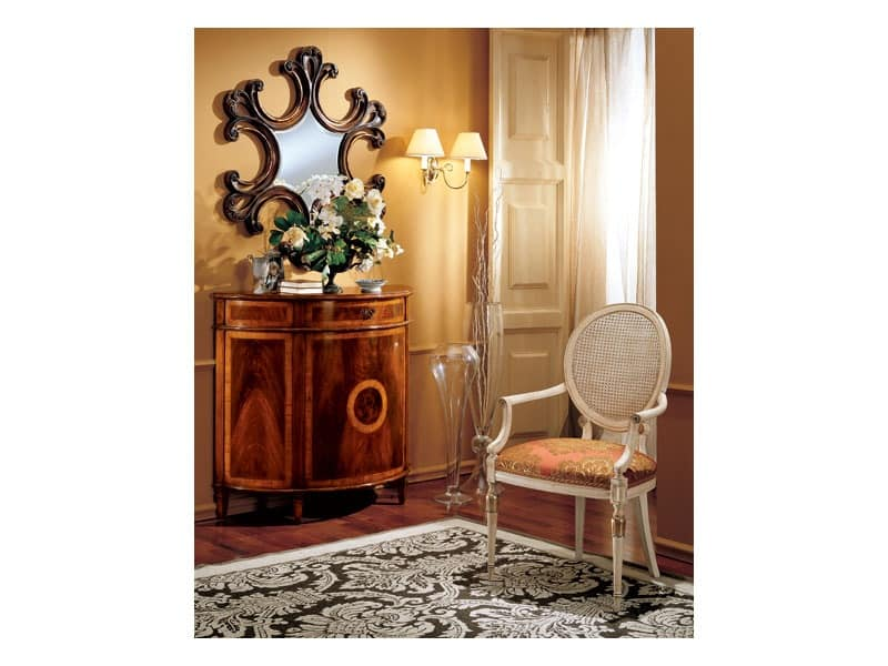 Complements mirror 862, Wall mirror with frame in decorated wood