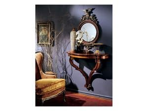 Console mirror 863, Round Mirror with decorated wooden frame