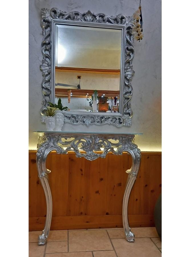 Mirror Edera, Classic rectangular mirror with silver lieaf finishings
