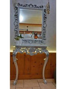 Mirror Edera, Classic rectangular mirror with silver lieaf finishings