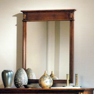 Etretat VS.0239, Walnut wall mirror with ribbed band at the top