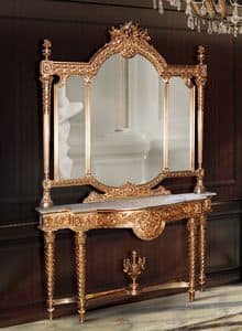 F360, Gilded console and mirror in classic luxury style