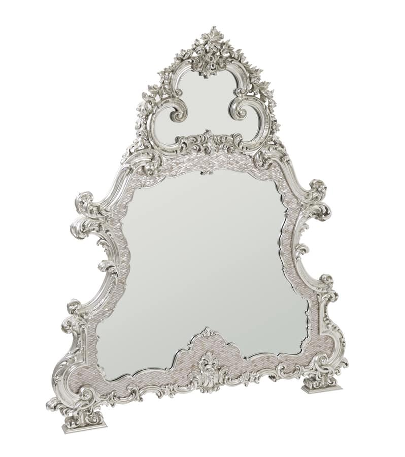 Mirror With Mother Of Pearl Frame Carved And Covered In White Gold