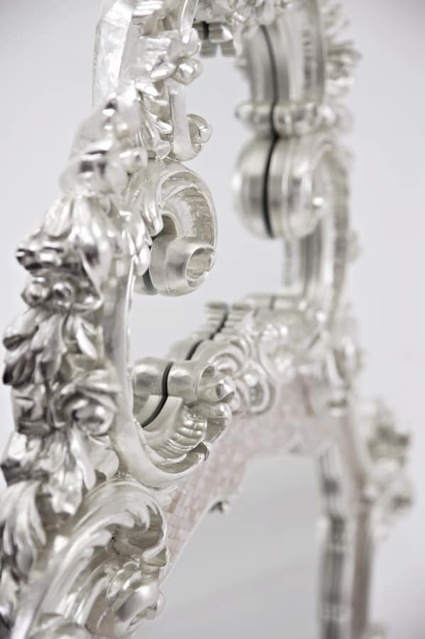 Imperial mirror, Mirror with mother-of-pearl frame, carved and covered in white gold