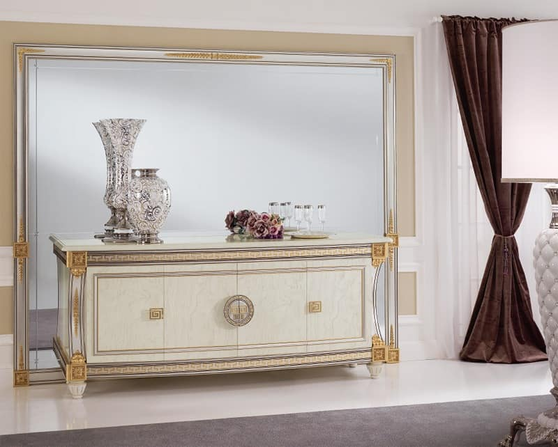 Liberty mirror, Mirror with generous dimensions, stylish as refined, with carved wooden frame