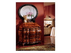 Milano mirror 834, Oval mirror with wood frame, luxury classic
