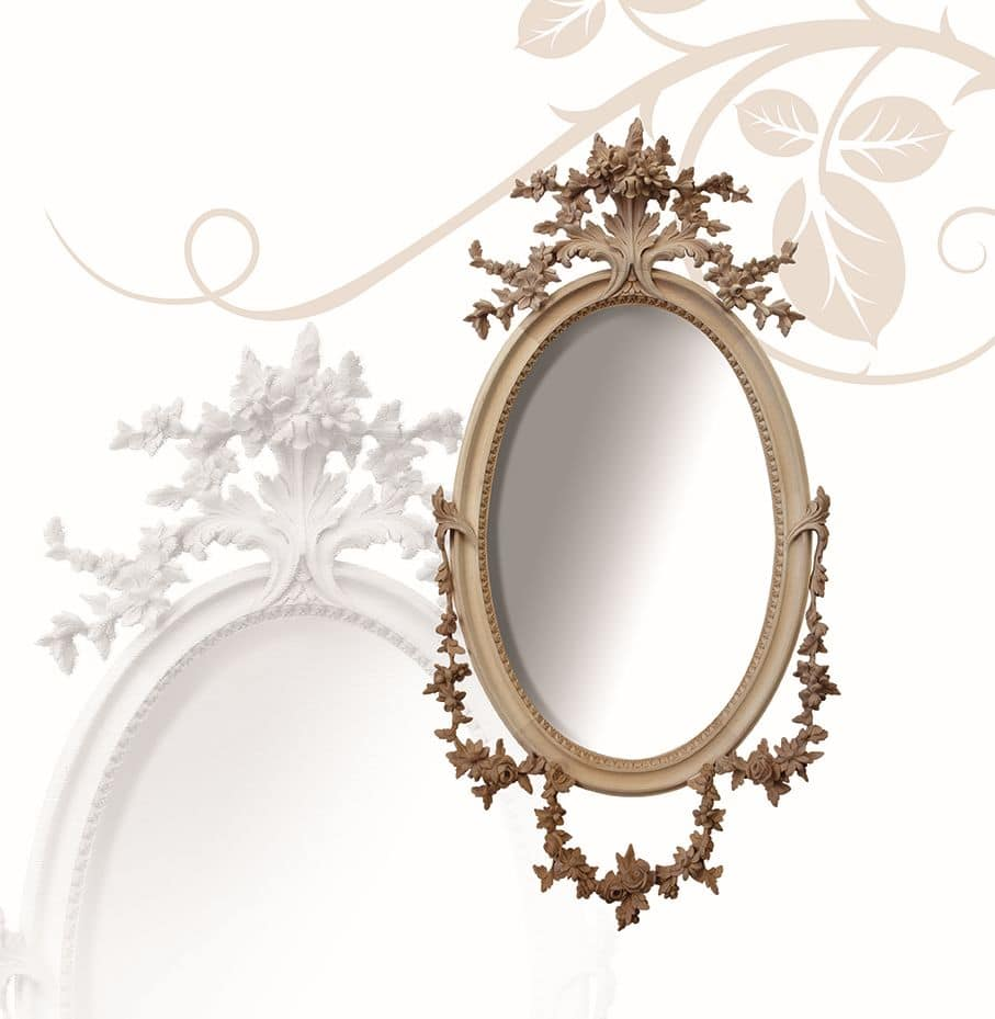 Mirror art. 177, Oval mirror, in linden wood, finely hand-carved with flowers