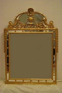 MIRROR WITH CYMA ART. CR 0061, Mirror with Cyma, hand-carved, gilded